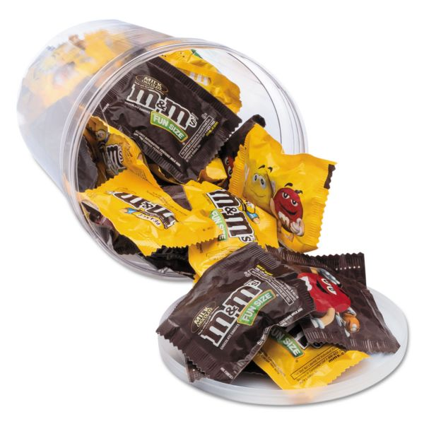 Office Snax Candy Tubs, Chocolate and Peanut M&Ms, 1.75 lb Resealable Plastic Tub