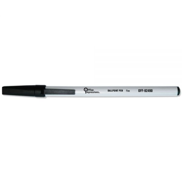 Office Impressions Economy Stick Ballpoint Pen, Black Ink, 0.7 mm, 144/Pack