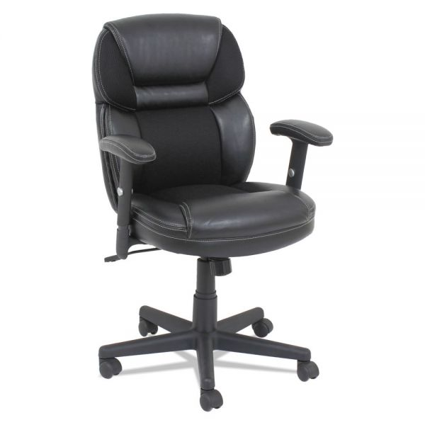 OIF Mesh/Faux Leather Mid-Back Chair, Height-Adjustable T-Bar Arms, Black