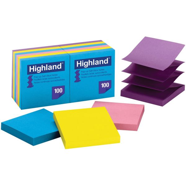 """Highland 3"""" x 3"""" Pop-Up Adhesive Note Pads"""