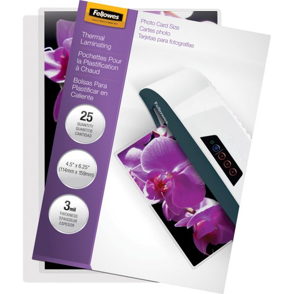 Fellowes Laminating Pouch, 3mil, 4 1/2 x 6 1/4, 25/Pack