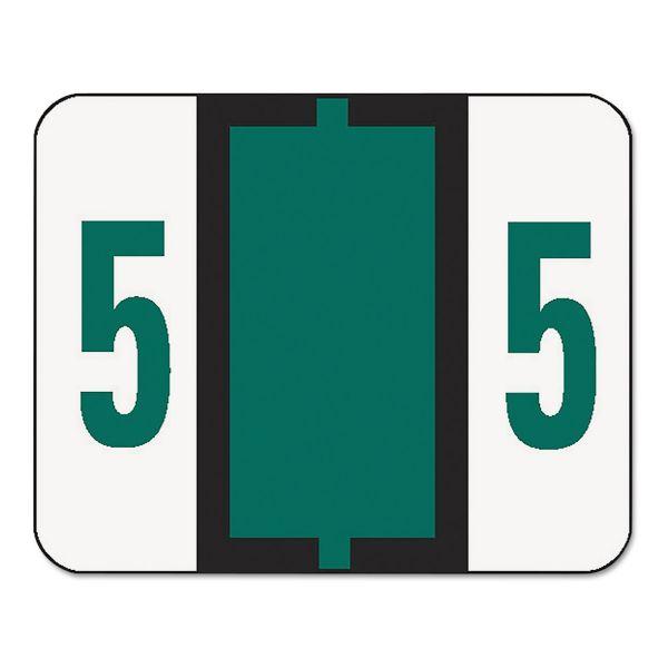 Smead Single Digit End Tab Labels, Number 5, Dark Green, 500/Roll