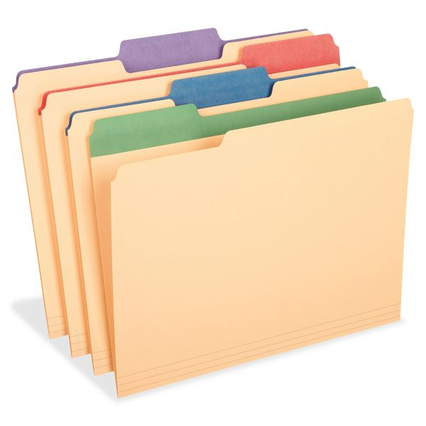 Pendaflex Manila File Folders w/Assorted Color Tabs