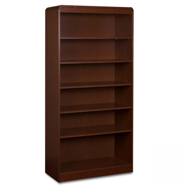 Lorell Radius 6-Shelf Hardwood Veneer Bookcase