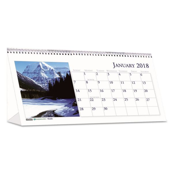 House of Doolittle Recycled Scenic Photos Desk Tent Monthly Calendar, 8 1/2 x 4 1/2, 2018