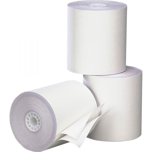 """PM Company Paper Rolls, Two Ply Receipt Rolls, 3"""" x 90 ft, White/White, 50/Carton"""