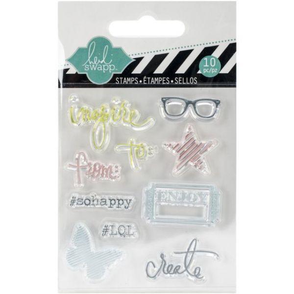 """Heidi Swapp Mixed Media Clear Mini Stamps 3""""X3.5"""""""