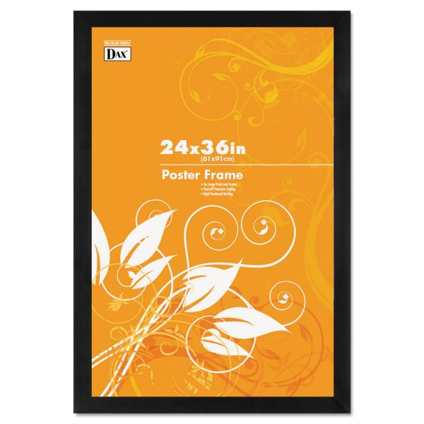 DAX Black Solid Wood Poster Frames w/Plastic Window, Wide Profile, 24 x 36