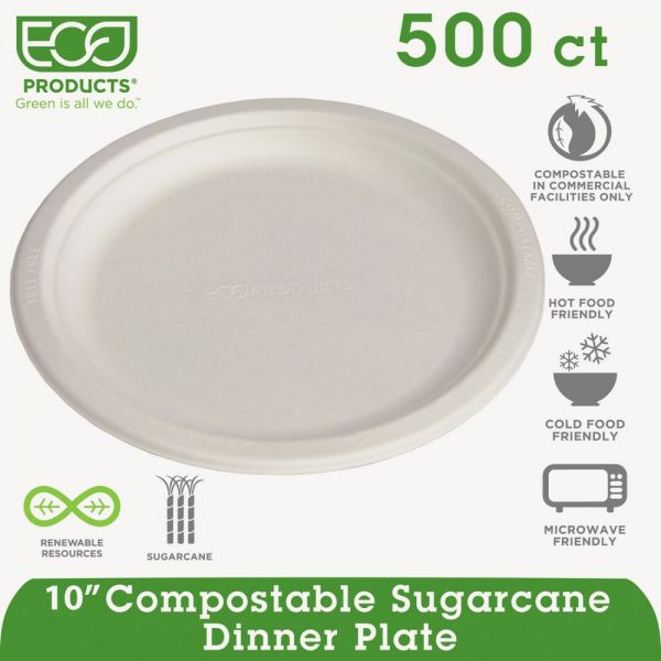 "Eco-Products Compostable 10"" Bagasse Plates"