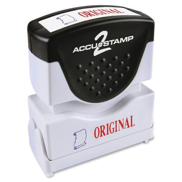 ACCUSTAMP2 Pre-Inked Shutter Stamp, Red/Blue, ORIGINAL, 1 5/8 x 1/2