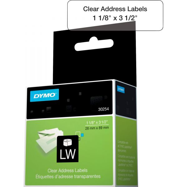 DYMO LabelWriter Address Labels, 1 1/8 x 3 1/2, Clear, 130 Labels/Roll