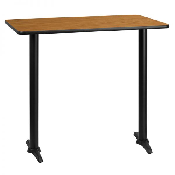Flash Furniture 30'' x 45'' Rectangular Natural Laminate Table Top with 5'' x 22'' Bar Height Table Bases