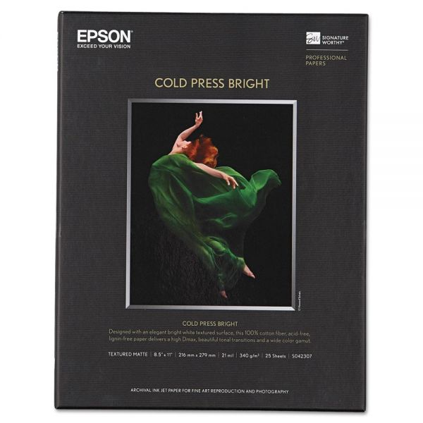Epson Cold Press Bright Fine Art Paper, 8-1/2 x 11, Bright White, 25 Sheets