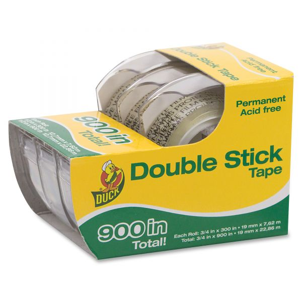 "Duck Permanent Double-Stick Tape, 1/2"" x 300"", 1"" Core, Clear"