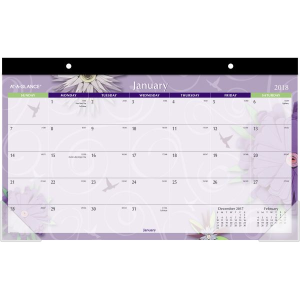 AT-A-GLANCE Paper Flowers Compact Monthly Desk Pad, 17 3/4 x 10 7/8, 2018