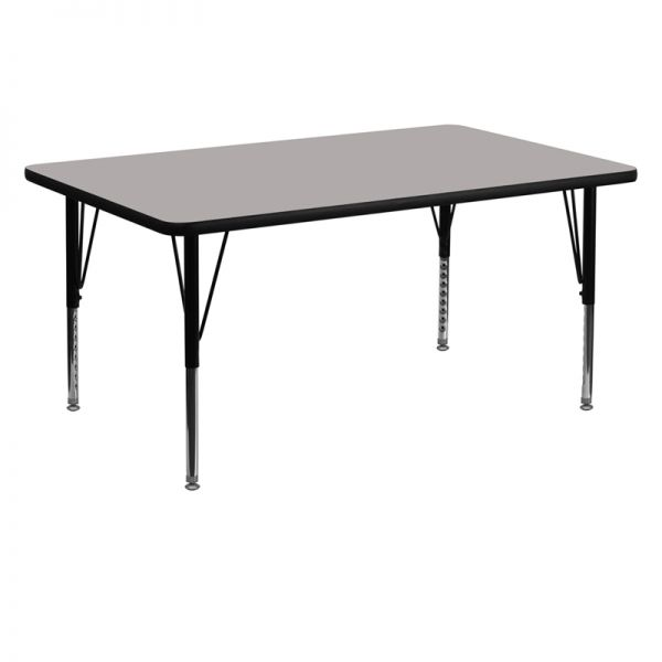 Flash Furniture 30''W x 60''L Rectangular Activity Table with 1.25'' Thick High Pressure Grey Laminate Top and Height Adjustable Preschool Legs