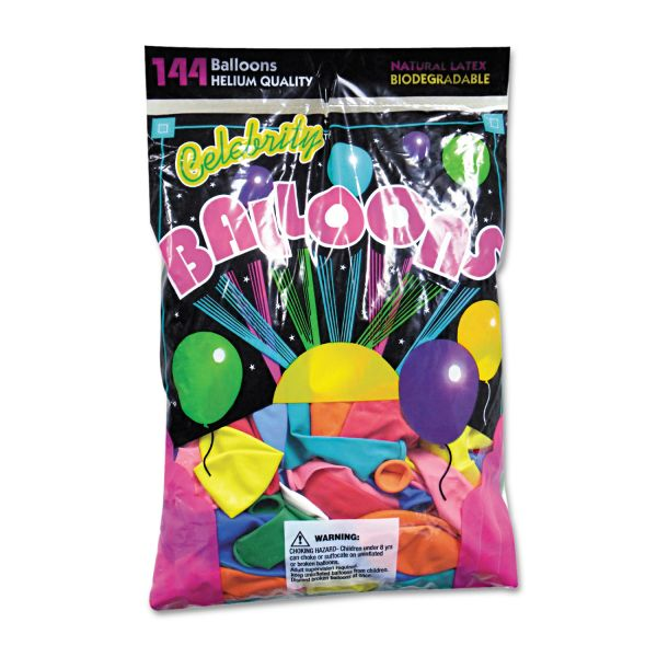 Tablemate Helium Quality Latex Balloons, 12 Assorted Colors, 144/Pack