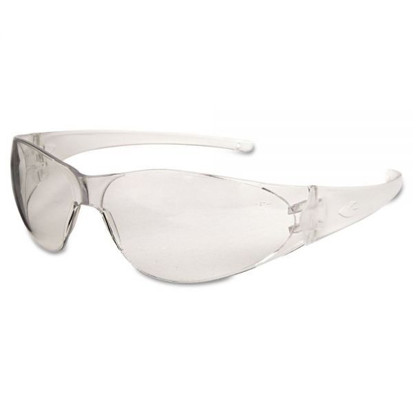 MCR Safety Checkmate Safety Glasses, Clear Temple, Clear Lens, Anti Fog