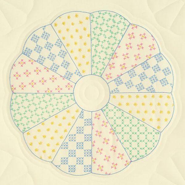 """Stamped Ecru Quilt Blocks 18""""X18"""" 6/Pkg"""