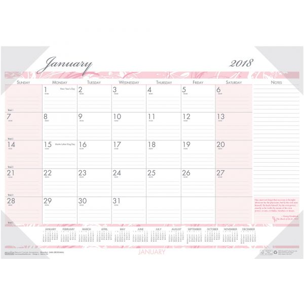 House of Doolittle Breast Cancer Awareness Compact Monthly Desk Pad Calendar