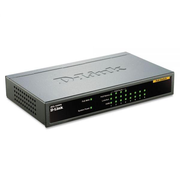 D-Link 8-Port Fast Ethernet Desktop Switch, 4 PoE Ports, Unmanaged
