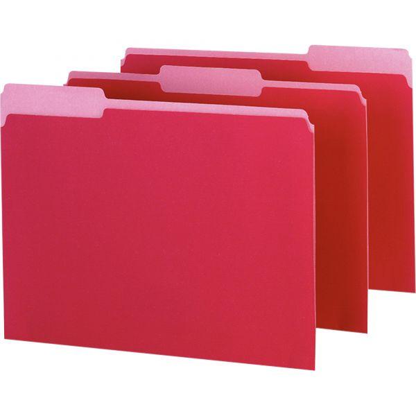Pendaflex Interior File Folders, 1/3 Cut Top Tab, Letter, Red, 100/Box