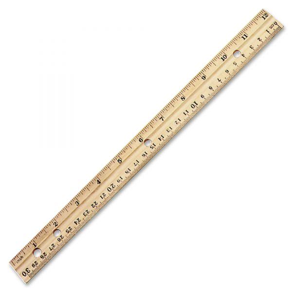 "Charles Leonard Beveled Wood Ruler w/Single Metal Edge, 3-Hole Punched, 12"", Natural, 36/Box"