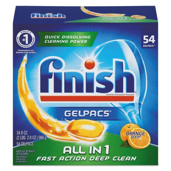 FINISH Dish Detergent Gelpacs, Orange Scent, Box of 54 Gelpacs