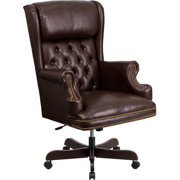 Flash Furniture High Back Traditional Tufted Leather Executive Office Chair