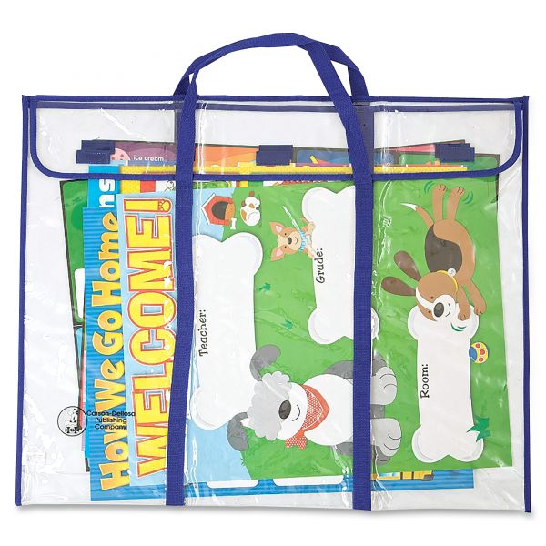 "Carson-Dellosa Publishing Bulletin Board Storage Bag, Blue/Clear, 30"" x 24"""