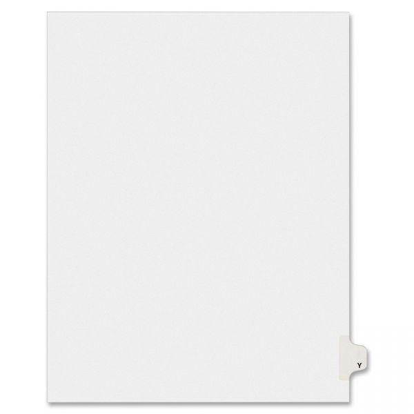 Avery-Style Legal Exhibit Side Tab Dividers, 1-Tab, Title Y, Ltr, White, 25/PK