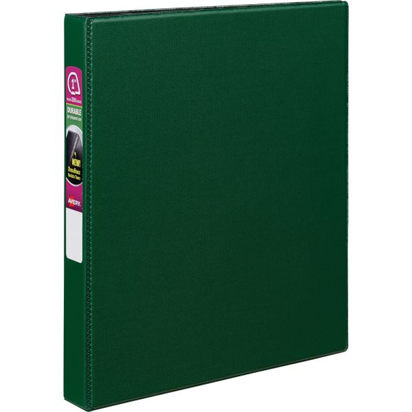 "Avery Durable 3-Ring Binder, 1"" Capacity, Slant Ring, Green"