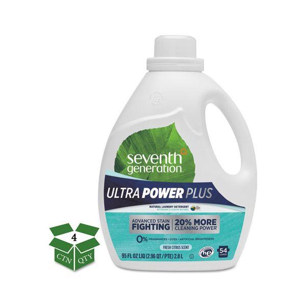 Seventh Generation Natural Liquid Laundry Detergent, Ultra Power Plus, Fresh, 54 Loads, 95oz, 4/CT