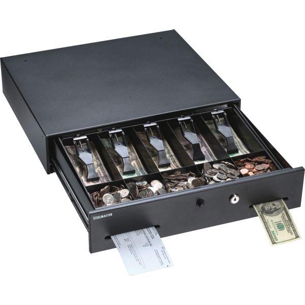 SteelMaster Alarm Alert Steel Cash Drawer w/Key & Push-Button Release Lock, Black