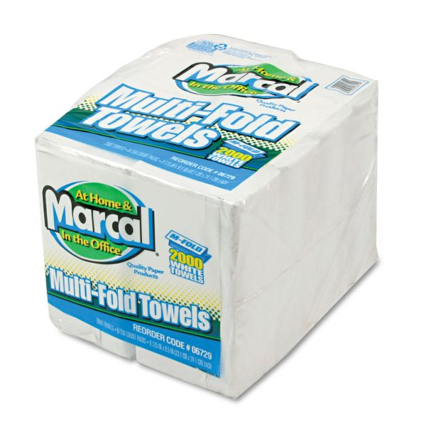 Marcal Small Steps 100% Premium Recycled Multi-fold Paper Towels, 9 3/8 x 9 1/2, 1-Ply, White, 250 Sheets/Pack, 8 Packs/Carton