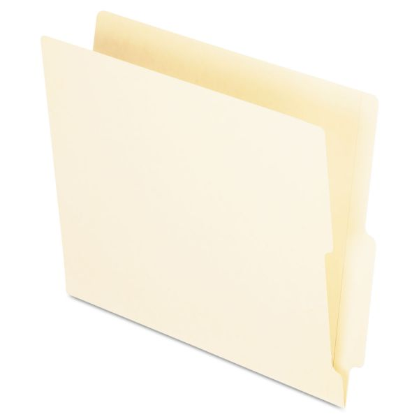 Pendaflex End Tab Folders, Straight Cut Tab, Two Ply, Letter, Manila, 100/Box