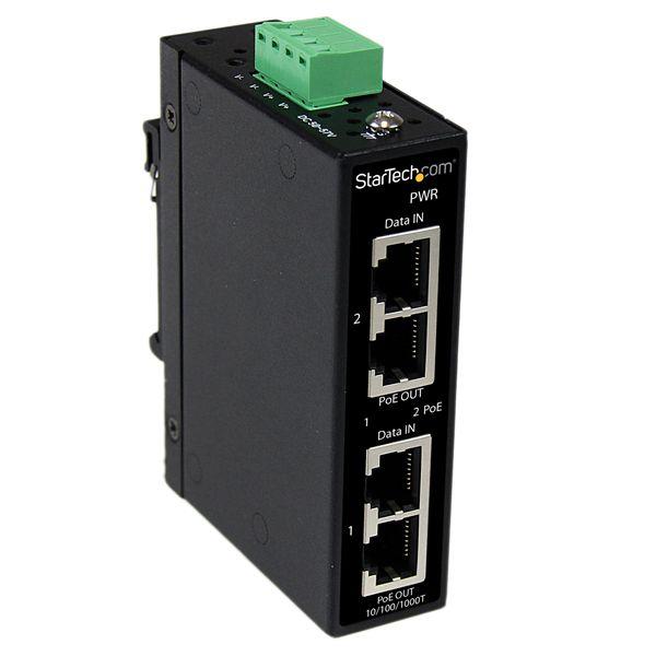StarTech.com Industrial 2 Port Gigabit PoE+ Power over Ethernet Injector 48V / 30W - Wall-Mountable