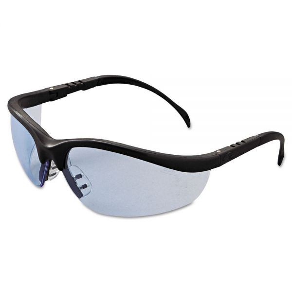 Crews Klondike Safety Glasses, Matte Black Frame, Light Blue Lens
