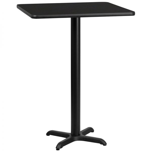 Flash Furniture 30'' Square Black Laminate Table Top with 22'' x 22'' Bar Height Table Base