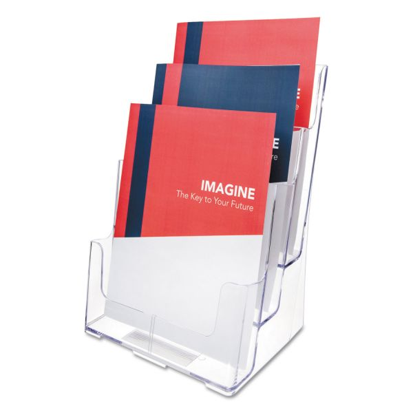deflecto 3-Compartment DocuHolder, Magazine Size, 9 1/2 x 6 1/4 x 12 5/8, Clear