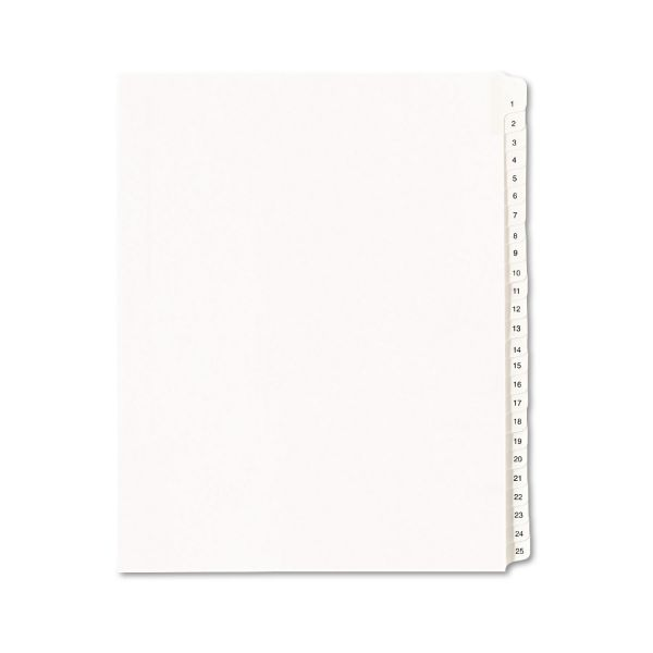 Avery Allstate-Style Legal Exhibit Side Tab Dividers, 25-Tab, 1-25, Letter, White