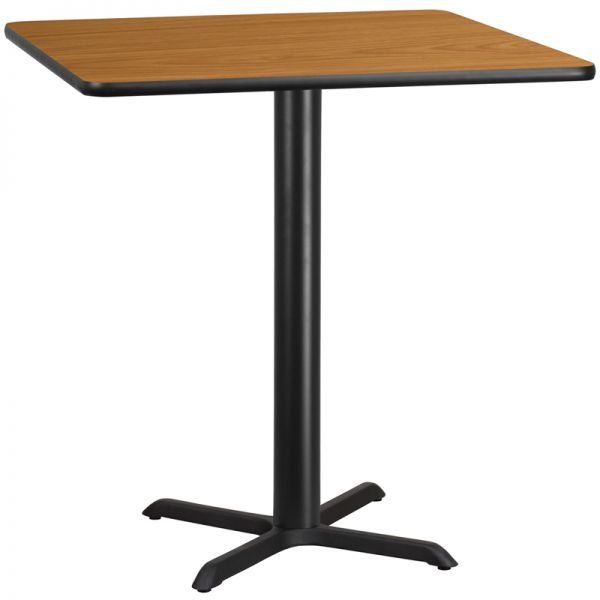 Flash Furniture 42'' Square Natural Laminate Table Top with 33'' x 33'' Bar Height Table Base