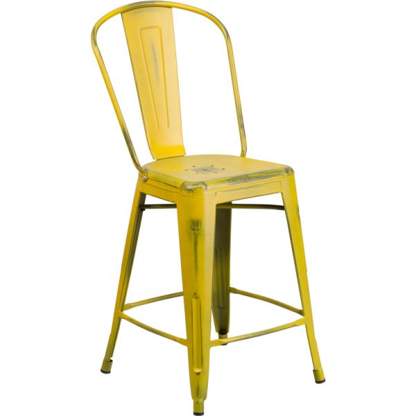 Flash Furniture 24'' High Metal Indoor-Outdoor Counter Height Stool with Back