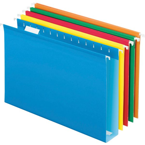 "Pendaflex Reinforced 2"" Extra Capacity Hanging Folders, 1/5 Tab, Legal, Assorted, 25/Box"