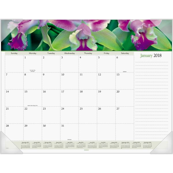 Visual Organizer Panoramic Floral Monthly Desk Pad Calendar