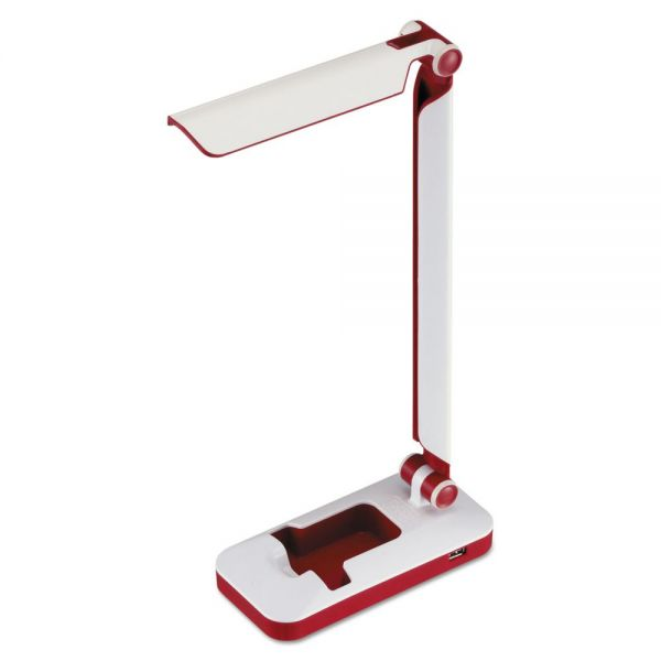 "BLACK+DECKER PureOptics Verve Folding LED Desk Light, 2 Prong, 16"", White/Red"