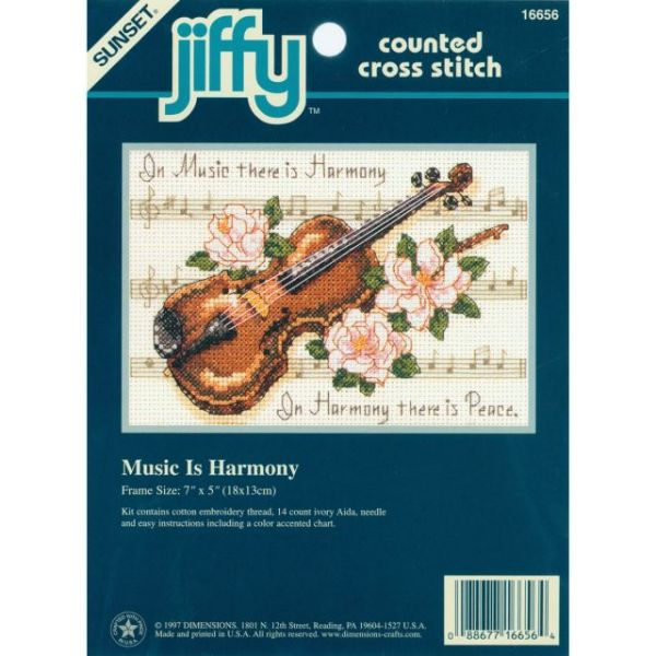 Jiffy Music Is Harmony Mini Counted Cross Stitch Kit