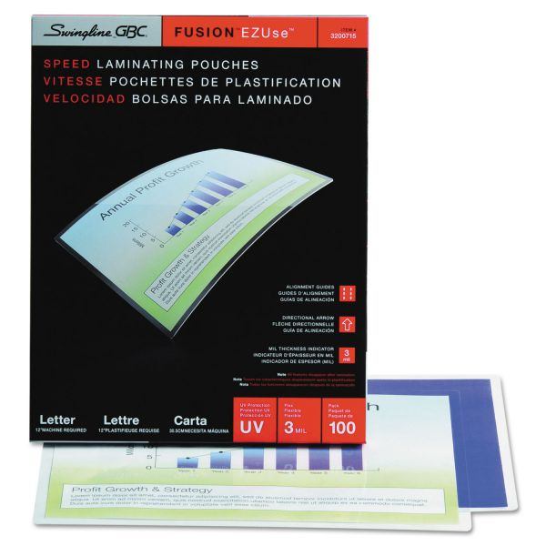 Swingline GBC EZUse Thermal Laminating Pouches, 3 mil, 11 1/2 x 9, 100/Box