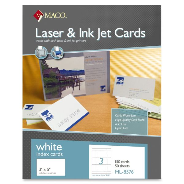 "Maco 3"" x 5"" Blank Index Cards"