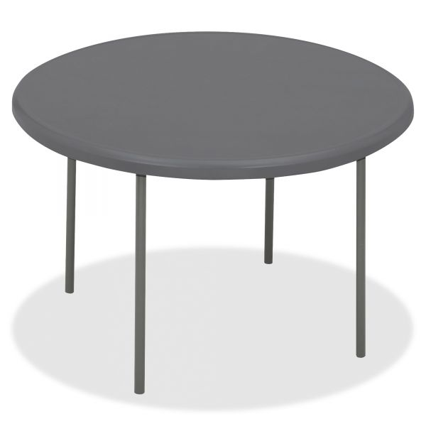 Iceberg IndestrucTables Too 1200 Series Resin Folding Table, 60 dia x 29h, Charcoal